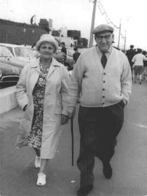 Harry and wife Gladys on the promenade at Cleethorpes. 