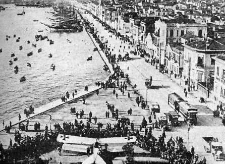 Waterfront at Salonica (now called Thessalonika), showing captured German plane. 