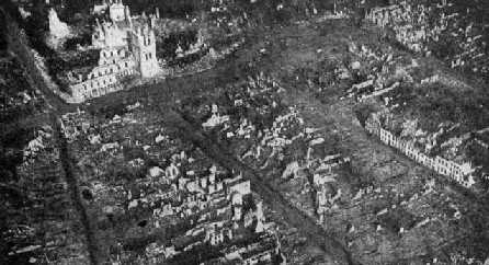 Ruins of Ypres from the air. 